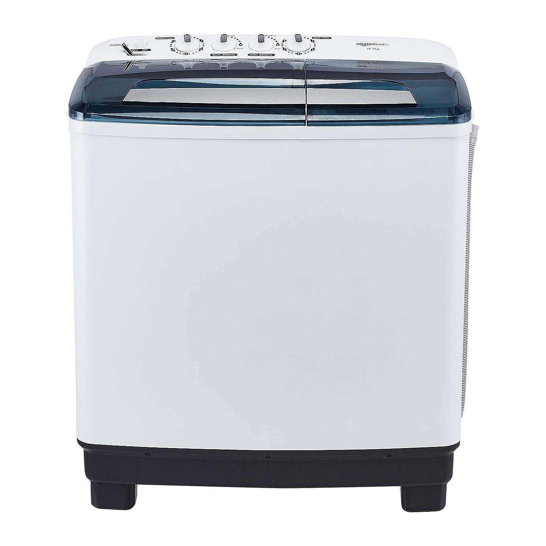 AmazonBasics 10.2 kg Semi-automatic Washing Machine (with Heavy wash function, White/Blue color)