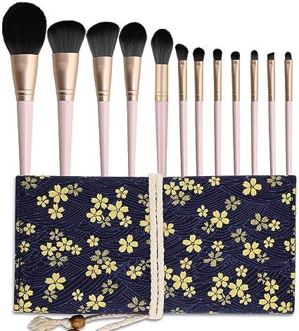 WD&CD Brochas Maquillaje Profesional 12 Piezas, Set Brochas de Maquillaje 100% Libre de Crueldad Cerdas Sintéticas Suaves de Alta Calidad Bolso Cosmético Impermeable - Rosa: Amazon.es: Belleza