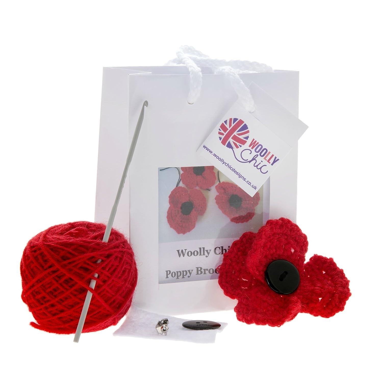 Crochet Poppy Brooch kit Woolly Chic