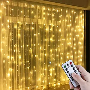 Anpro Luz Cadena Luz de Cortina USB, con 300 Bombillas LED, 8 Modos, Blanca Cálida, 3x3 m