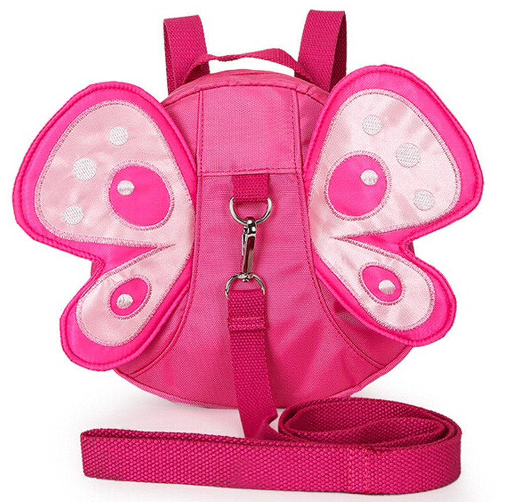 Baby Safety Anti-Lost Backpack, Haneye Child Toddler Walking Safety Harnesses Butterfly Backpack with Leash (Pink)