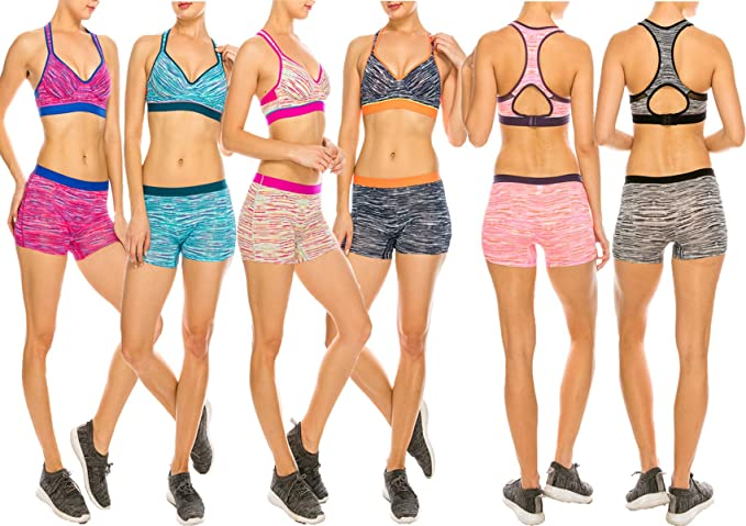 71e5340943a MoDDeals Woman s Regular and Plus Size Racerback Bra and Boy Short  Activewear Set