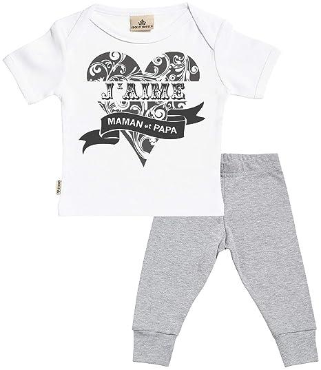 bf1cf188dc3d1 Spoilt Rotten SR - J aime Maman et Papa bébé Set - Blanc bébé T ...
