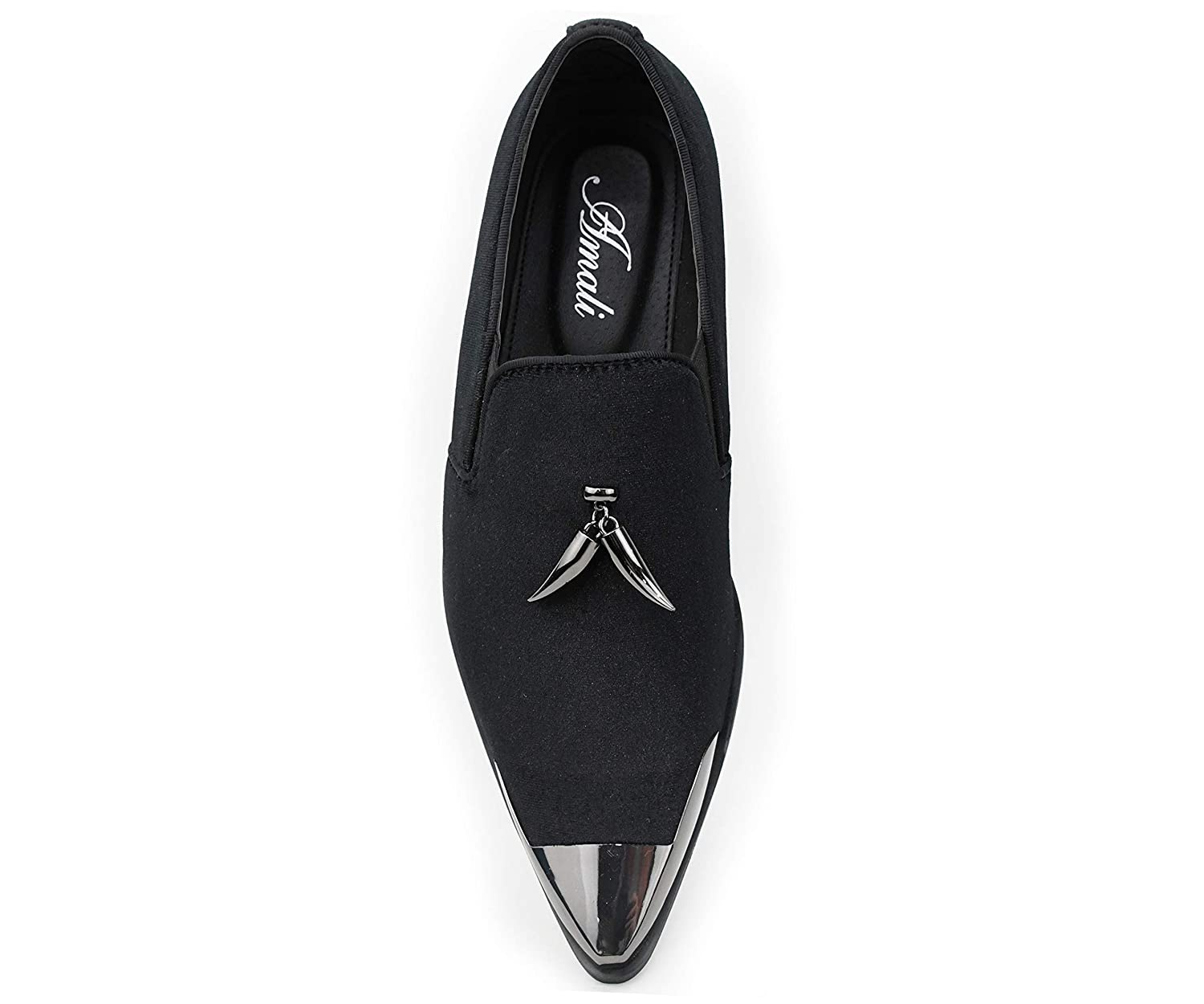 Amali Mens Metal Tip Loafer Slip-On Dress Velvet Shoe with A Dark Metal Silver Tip and Matching Sterling Metallic Horn Shaped Tassel Style Corwin Smoking Slipper