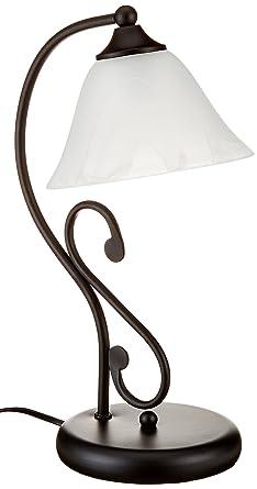 Rústico mattschwarze lámpara de mesa con cristal de ...