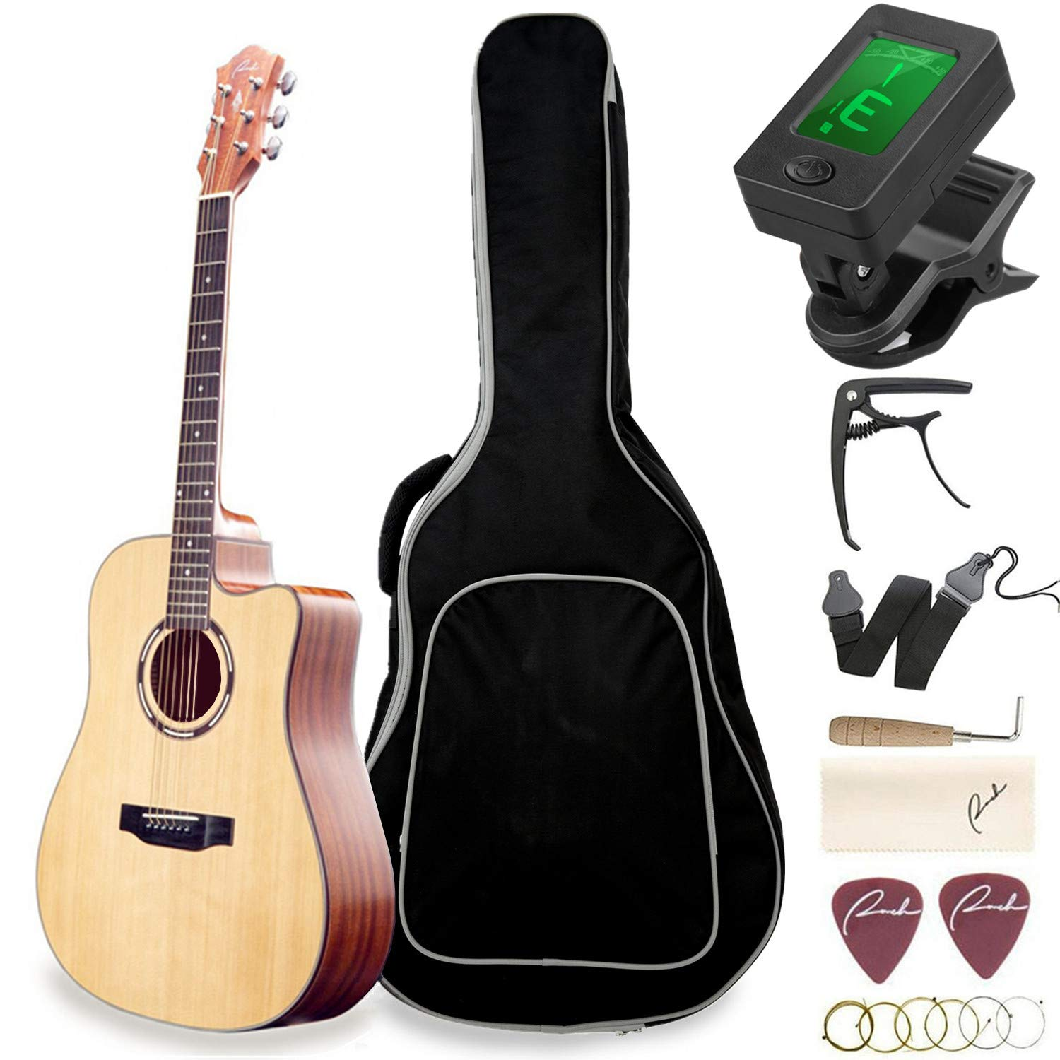 Beginner Acoustic Guitar Ranch 41'' Full Size Solid Wood Cutaway Beginners Steel String Guitars Kit Bundle with Gig Bag/Tuner/Capo/Strings/Strap/Picks Set Starter Guitar Pack for Adults (Dreadnought) by Ranch