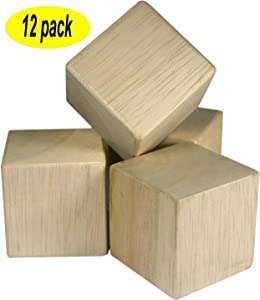 2 inch Unfinished Craft Wood Blocks 12 Pieces By Nesha