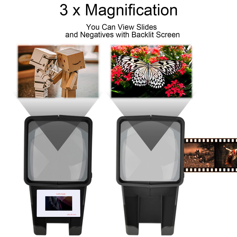 35mm Portable LED Negativ und Diaprojektor LED Tageslicht Desktop Diabetrachter 3X Vergr/ö/ßerung f/ür 35mm Dias