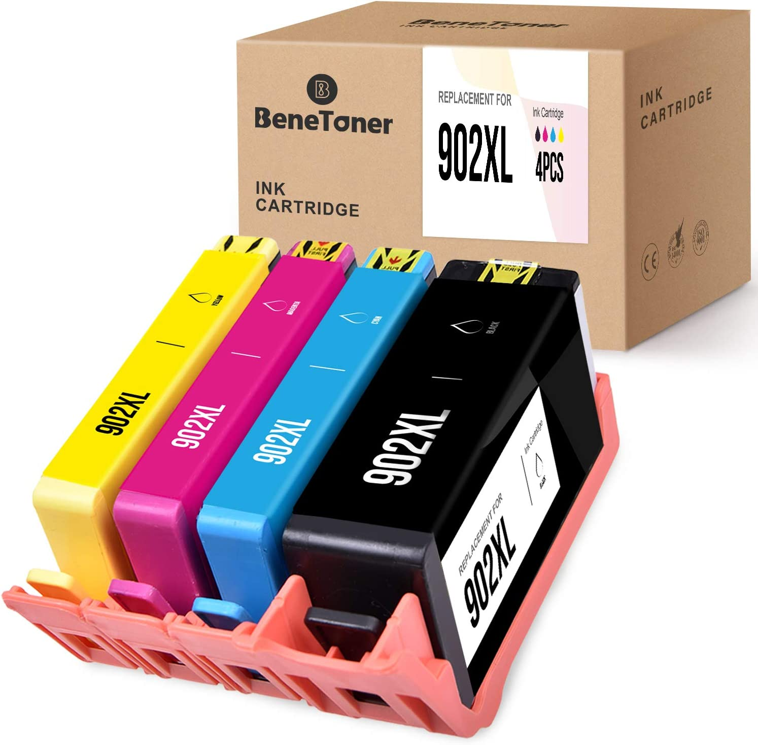 BENETONER Remanufactured Ink Cartridge Replacement for HP 902XL 902 XL Work with Officejet 6962 6958 Pro 6978 6968 (Black, Cyan, Magenta, Yellow, 4-Pack)