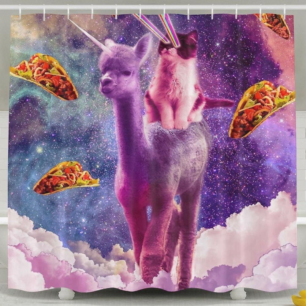FNLIU Standard Printed Shower Curtain Cosmic Cat Riding Alpaca Unicorn Bath Curtain,Non-Toxic, Non-Dissemination of Odor, Water-Proof