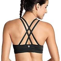 CRZ YOGA Women's Strappy Back Wirefree Padded Workout Yoga Sports Bra