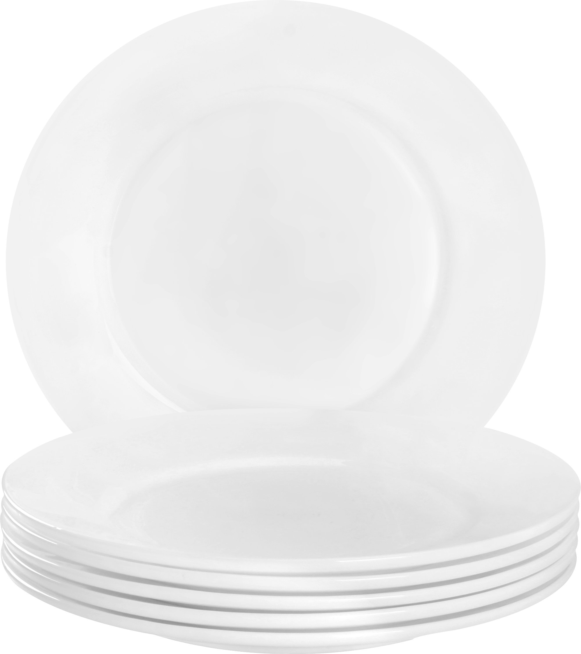 Utopia Kitchen 6 Pieces Plate Set - Dishwasher Safe Opal Glassware - Microwave/Oven Friendly