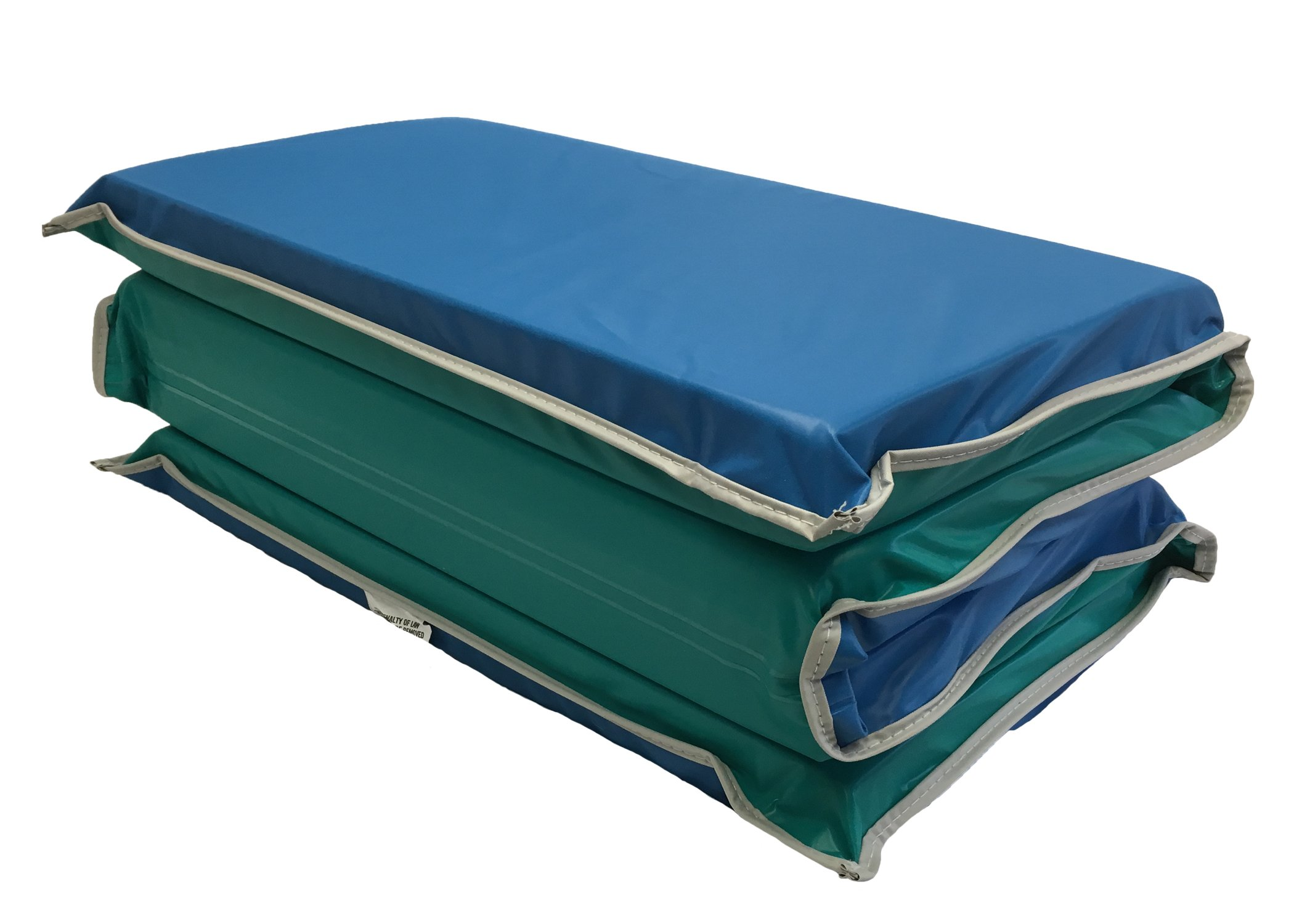 KinderMat Jr. Daydreamer Rest Mat, Gray Binding, 2 inches Thick, 44 x 19, Blue/Teal