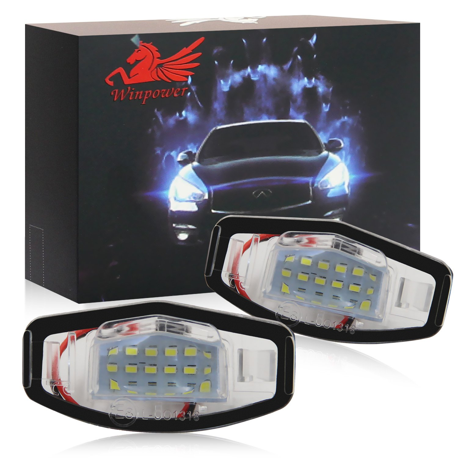 NGCAT 2 pieces 18 SMD White 6000K LEDs Bulb License Number Plate Light Lamps CanBus Error Free .