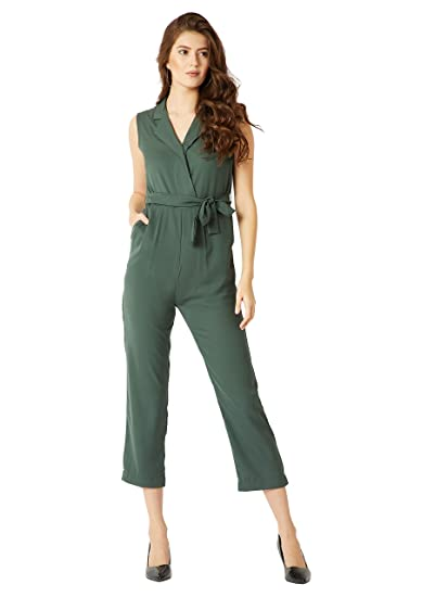 c0af74777e78 Miss Chase Women s Dark Green Wrap Jumpsuit (MCSS18D11-29-42-05 Dark  Green Large