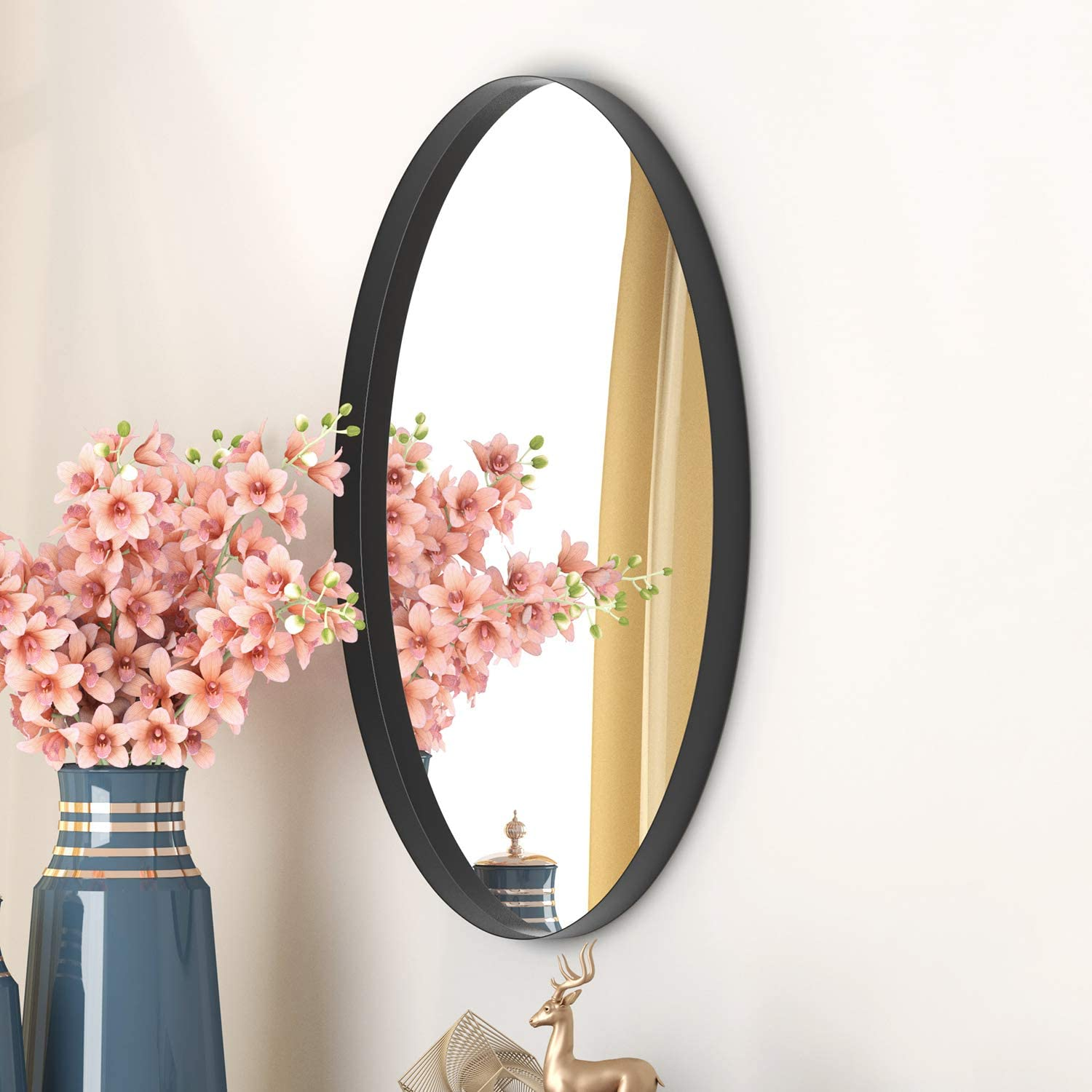 Nxhome Oval Bathroom Decorative Wall Mirror Living Room Entryway Wall Mounted 20x28in Black Clean Decor Stainless Steel Framed Mirrors For Vanity Bedroom Wall Mounted Mirrors