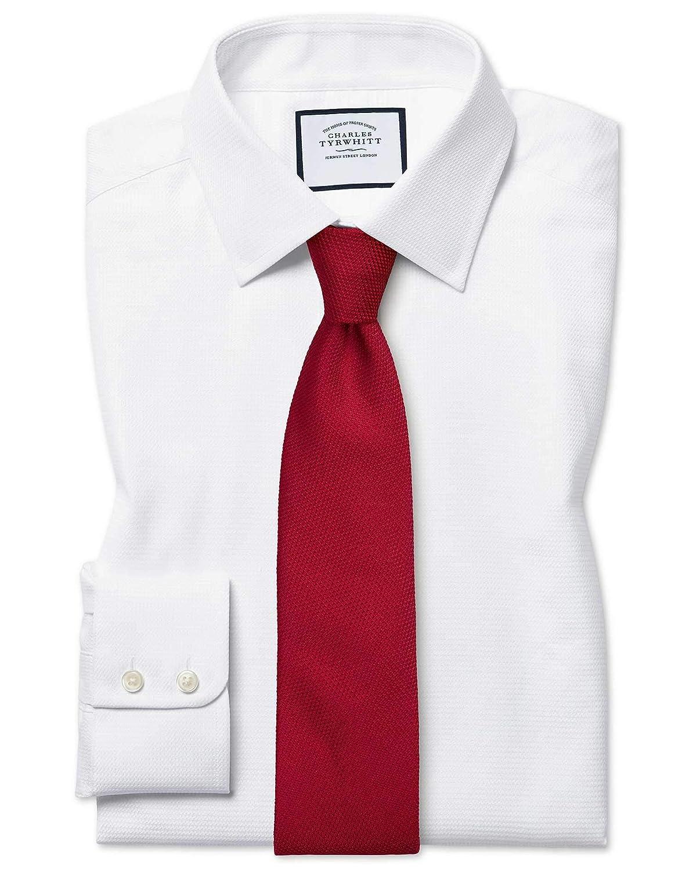 Chemise En Coton égypcravaten à Chevrons Blanche Slim Fit   Blanc (Poignet Mousquetaire)   17   36