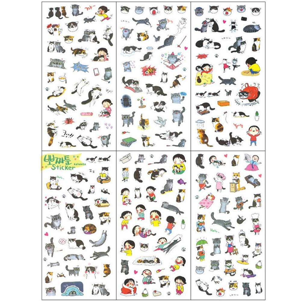 Cat Stickers Pack for DIY Albums Diary Laptop Decoration Cartoon Scrapbooking School Office Stationery Super Cute Black and White Cat Stickers Best Gift for Your Kids