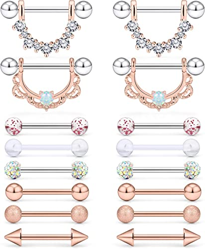 Mulit-Color Nipplerings Piercing Women 14G 4 Pairs 8 Pcs Stainless Steel Nipple Rings Shield Barbell Bar Body Piercing for Women Grils