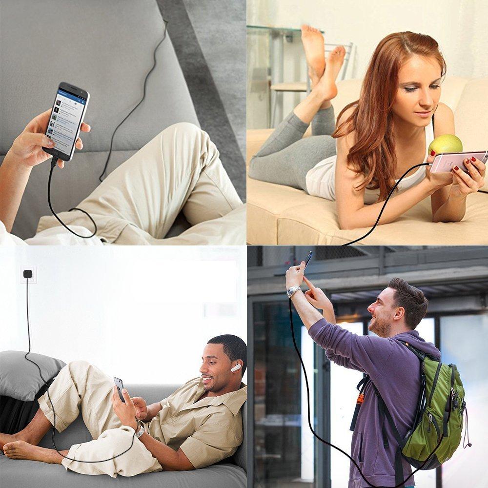 Artchros Phone Ladekabel 2M 3er Pack Nylon Kabel Kompatibel mit Phone XS//XS Max//XR// X// 8//8 Plus// 7//7 Plus// 6s// 6//6 Plus// 5S// 5//iOS12-Schwarz