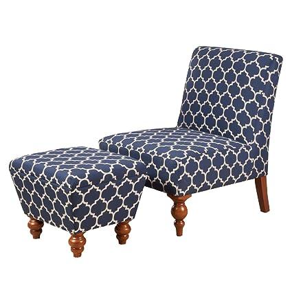 Genial Kinfine USA Inc. HomePop Susan Upholstered Armless Accent Chair And Ottoman  Set, Blue Geometric