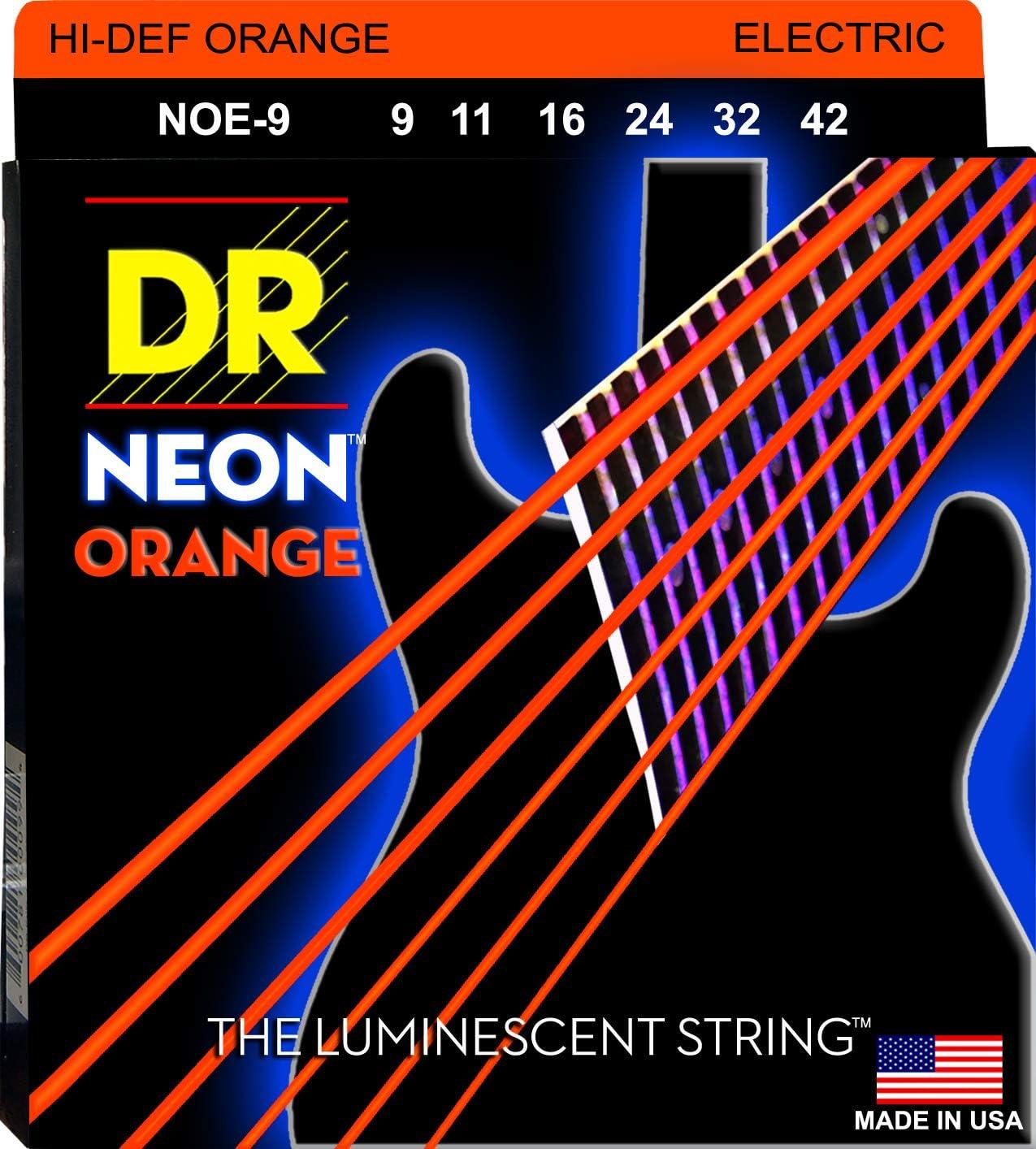DR String NOE-9 Neon Orange Juego Cuerdas Eléctrica