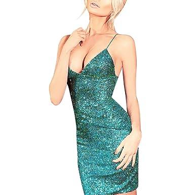 LAEMILIA Sexy Women Sequin Bodycon Mini Party Dress Shimmer Glam Sparkly Metallic Glitter Straps Sleeveless Stretchy