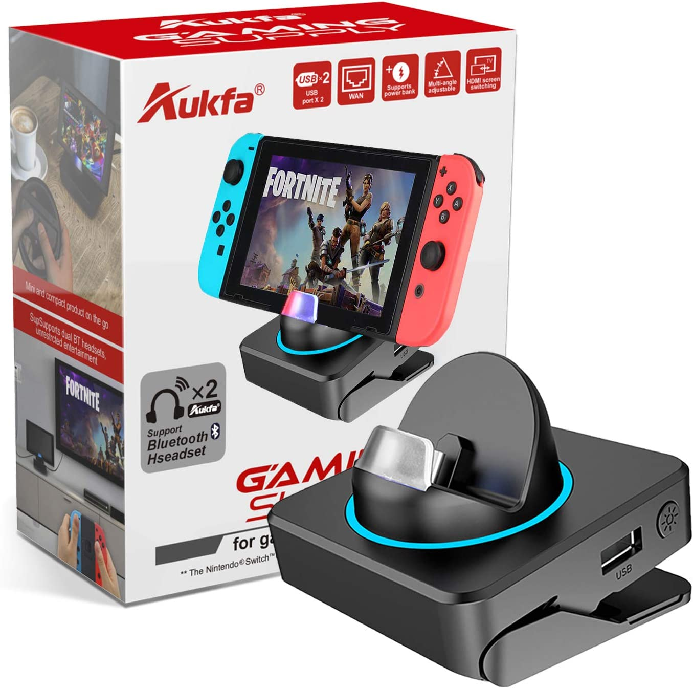 Bluetooth Switch Dock for Nintendo,Aukfa Adjustable Switch TV Dock Station,Type-C Input Interface 4K HDMI Video Conversion LAN and USB 3.0 Port, Connect Two Headsets Same Time Compatible with Airpods