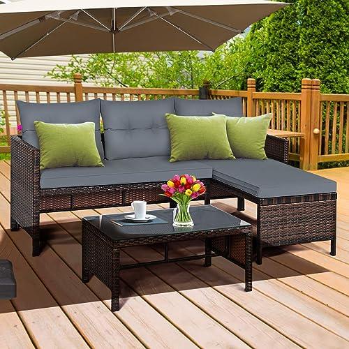 Tangkula Patio Corner Sofa Set 3 Piece