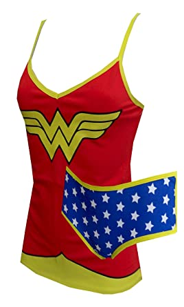 87b3cc5361 Amazon.com  DC Comics Wonder Woman Cami Tank and Panty Set  Clothing