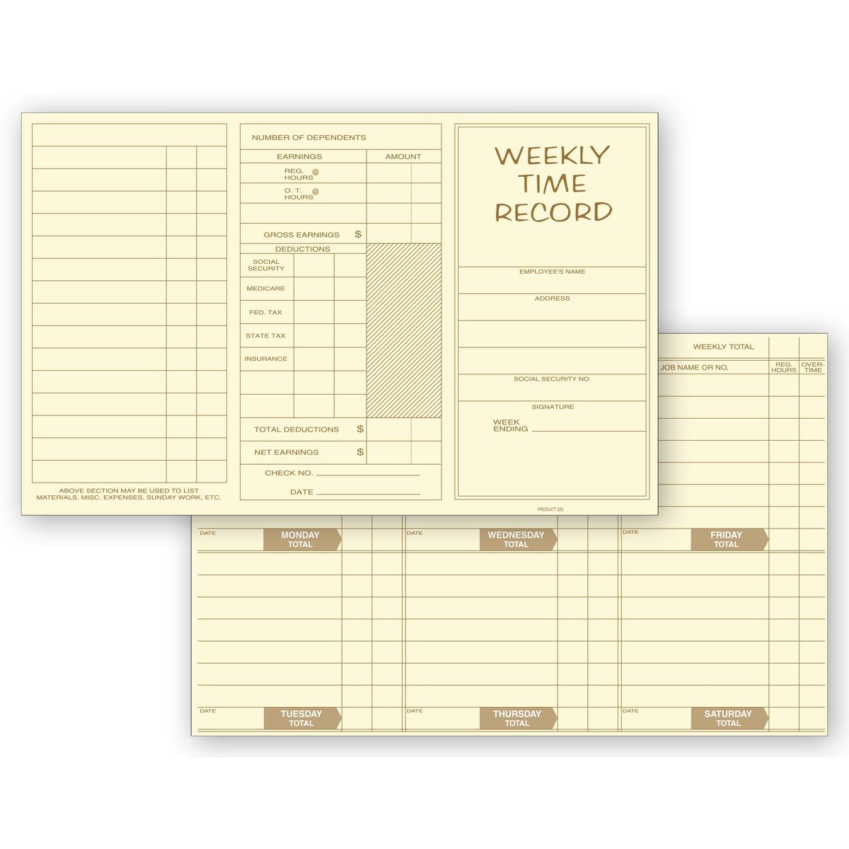 Pocket Size Weekly Time Cards - Pre-Printed for Jobs, Hours, Overtime, Earnings, Deductions (1000 qty)