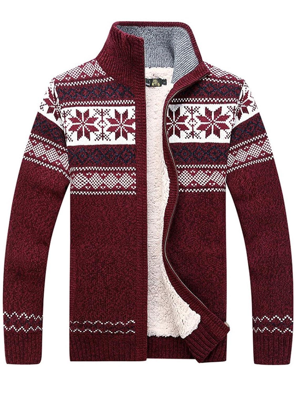 MatchLife Men's New Zipper Sweater Coat Snow Pattern Knitwear