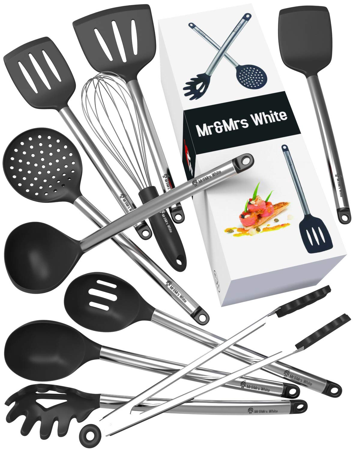 Kitchen Utensil Set 10 Cooking Utensils Nonstick Silicone And Stainless Steel Spatula Set Best Kitchen Tools For Gift Aaron Finds It