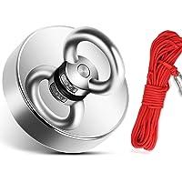 170 kg de fuerza magnética de neodimio con cuerda (20 m / 66 pies), imanes súper fuertes de 60 mm de diámetro, perfecto…