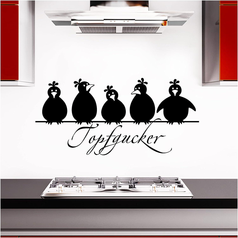 Grandora Wandtattoo Topfgucker 5 Vögel I Schwarz 58 X 27 Cm I Küche Spruch Zitat Aufkleber Selbstklebend Wandaufkleber Wandsticker W862 Küche Haushalt