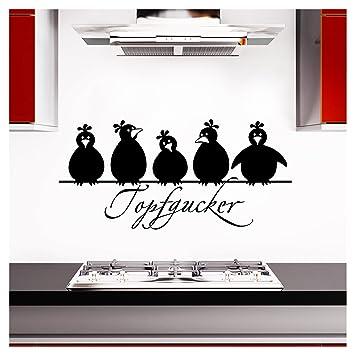 Grandora Wandtattoo Topfgucker 5 Vögel I schwarz 30 x 14 cm I Küche Spruch  Zitat Aufkleber selbstklebend Wandaufkleber Wandsticker W862