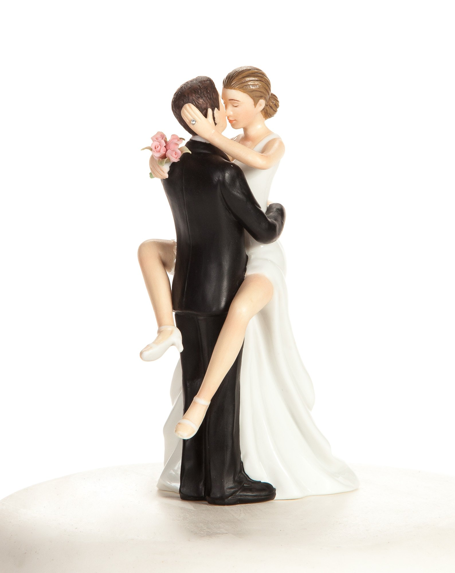 Wedding Collectibles Personalized Funny Sexy Wedding Bride and Groom Cake Topper Figurine: Bride Hair: BLACK - Groom Hair: BLACK