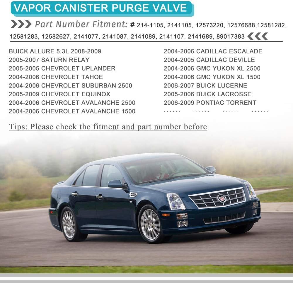 Vapor Canister Purge Valve 214-1105 for Chevy GMC Avalanche Express Silverado Suburban Savana Sierra Yukon 1500 2500 3500 Cadillac Deville Escalade SRX STS XLR with OE Repalce # 214-1105 12581282