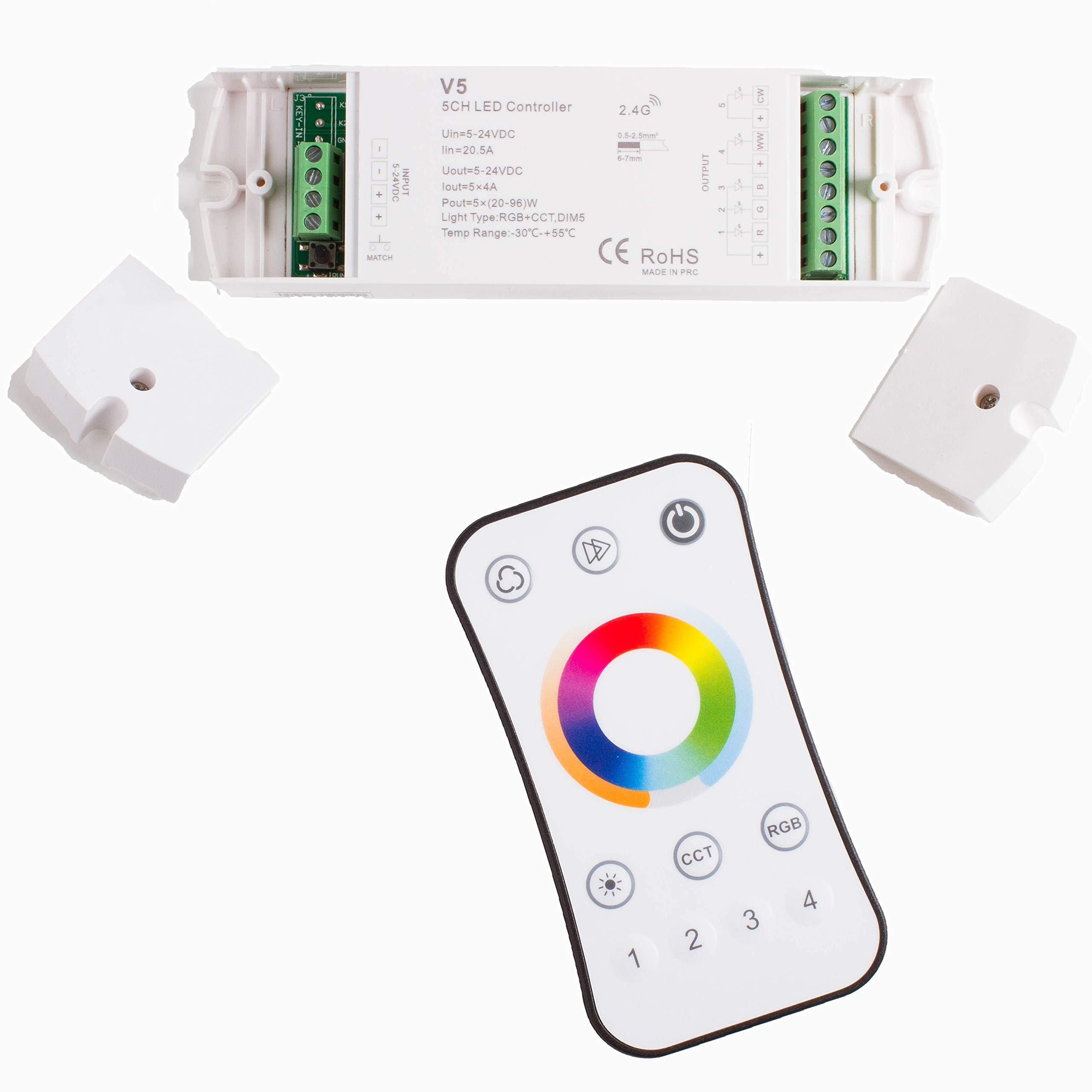 LEDUPDATES RGB RGBW WW/CW CCT LED Strip Light Controller 5 in 1 Compatible with Color Change RGB + Warm + Cool White LED Strip Light Change from 2700K to 6500K