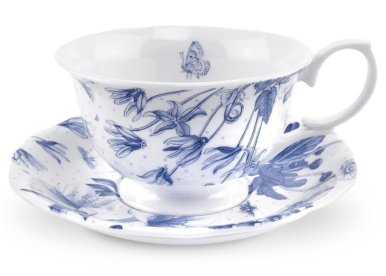 Amazon.com | Botanic Blue Teacup and Saucer Set Teacup With Saucer Cup u0026 Saucer Sets  sc 1 st  Amazon.com & Amazon.com | Botanic Blue Teacup and Saucer Set: Teacup With Saucer ...