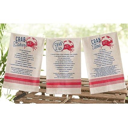amazon com mud pie nautical crab recipte kitchen hand towels set of