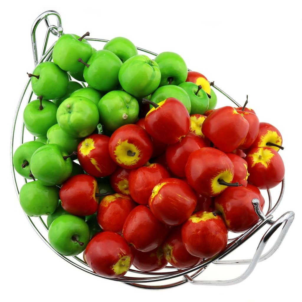 Gresorth 100 PCS Artificial Green & Red Apples Fake Fruit Apple Home Party Festival Decoration