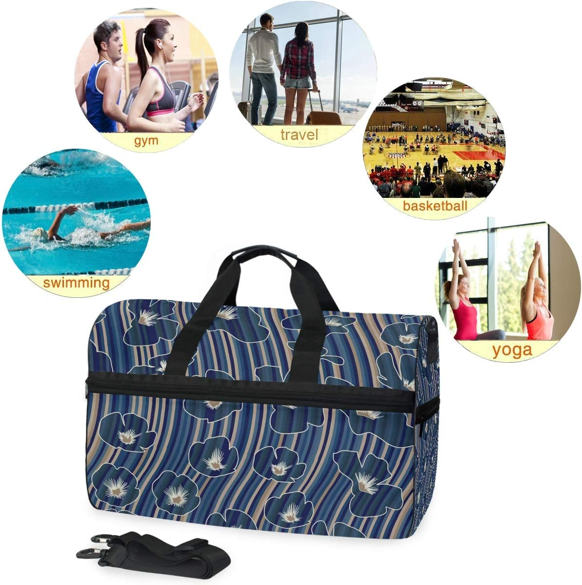 WIHVE Gym Bag Blue Poppy Striped Sports Travel Duffel Bag with Shoes Compartment