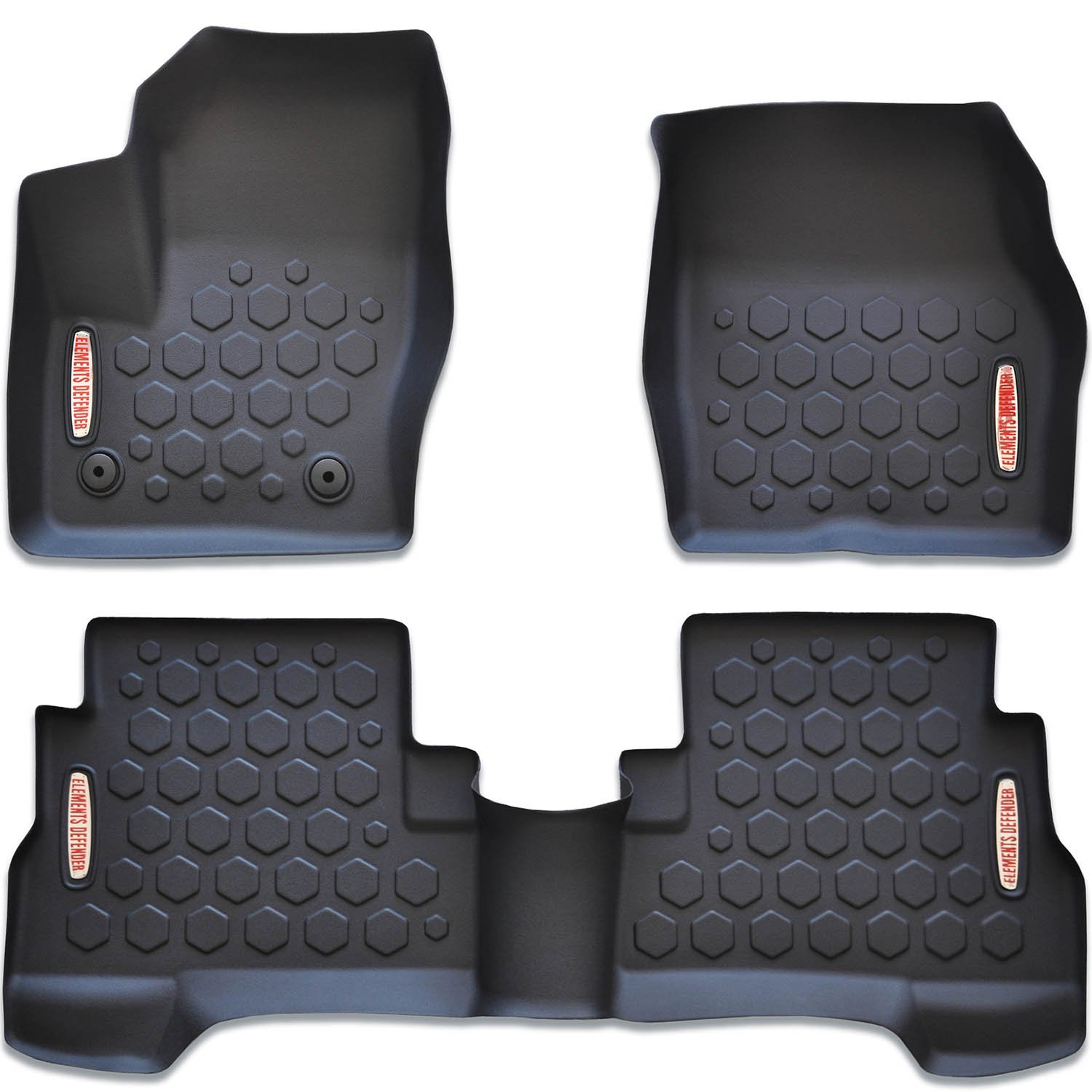 Elements Defender 2013-2018 Ford Escape Floor Mats (Front & Rear Liners - 100% Weather Resistant) 1st & 2nd Row Liners Fits All 2013, 2014, 2015, 2016, 2017, 2018 Escape Models (Including C-Max)