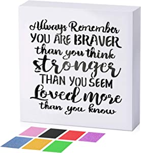 Wood Inspirational Plaque Wall Box Sign, Always Remember You are Braver Than You Think Inspirational Positive Wall Plaque with 7 Color Glitter Paper Home Decor Present for Mother, Grandma, Sister
