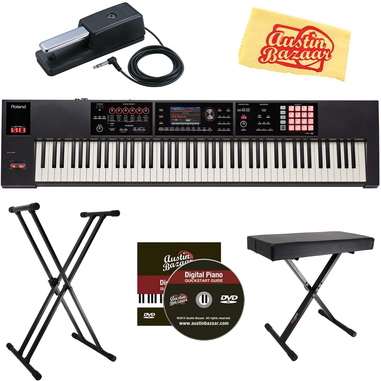 Roland FA-08 88-Note Music Workstation Bundle with Roland DP-10 Damper Pedal, Adjustable Stand, Bench, Dust Cover, Austin Bazaar Instructional DVD, and Polishing Cloth FA-08-COMBO-PRO-1