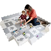 """Baby Play Mat with Edges - Extra Large (6ftx6ft) Extra Thick (0.56"""") Interlocking Foam Tiles with Sea Creatures Patterns 