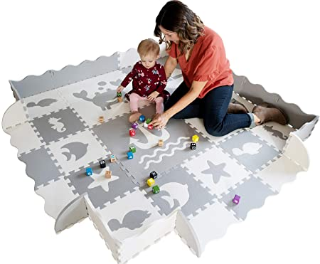 Baby Play Mat with Edges EXTRA LARGE 6ft x 6ft EXTRA THICK 0.56 Interlocking Foam Tiles with Sea Creatures Patterns Crawling Mat for Infants Puzzle Mat for Kids Grey and White