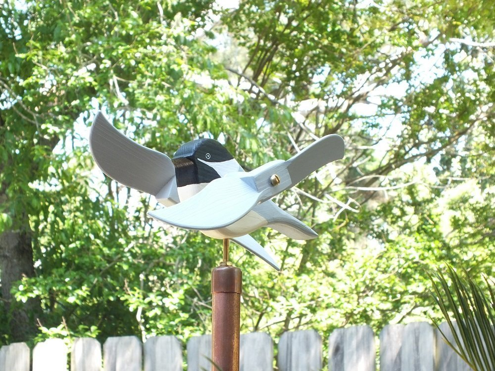 Chickadee Whirligig, handmade from solid southern cypress and solid brass hardware