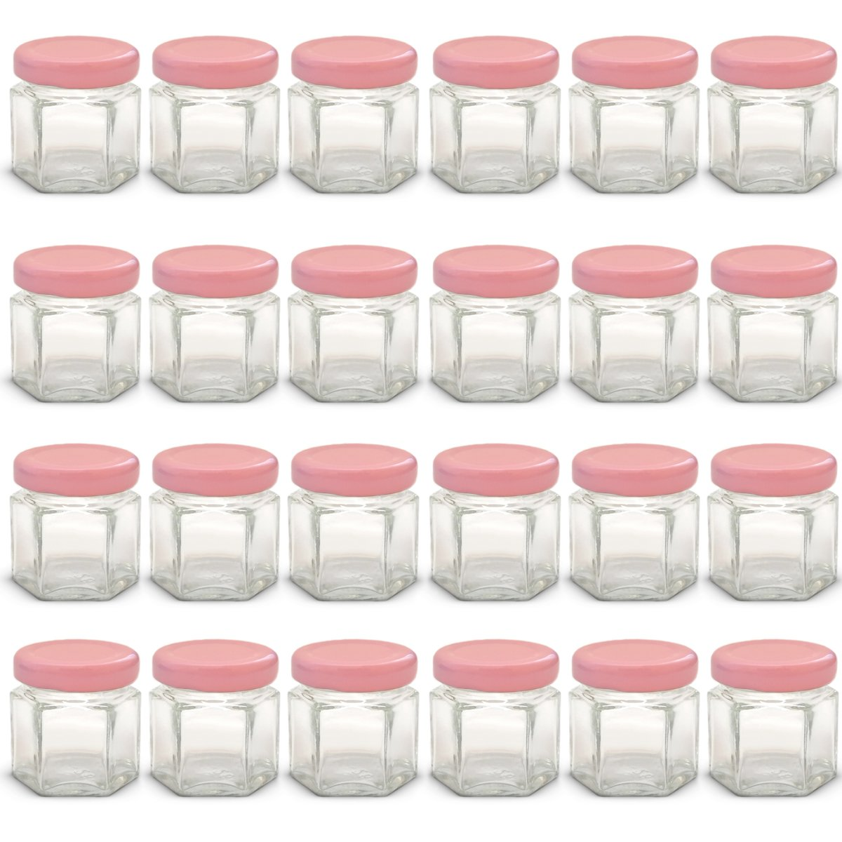1.5 oz Hexagon Mini Glass Jars with Pink Lids and Labels (Pack of 24)